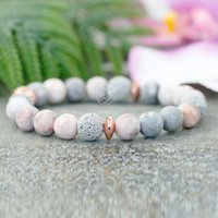 MG1086 New Design Women`s Yoga Mala Bracelet Natural Gemstone Energy Wrist Bracelet Vintage Gray Lava Stone Handmade Jewelry