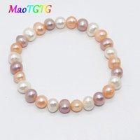 Бисероплетенные, пряди натуральный пресноводный жемчужный браслет для женщин Браслеты 7-8 мм белые розовые фиолетовые браслеты оптом1