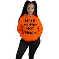 Ganhar dinheiro não amigos Carta Top 2020 Brasão Mulheres Sueter Hoodie Sweater Jacket inverno quente Tops Casacos Roupa D102103