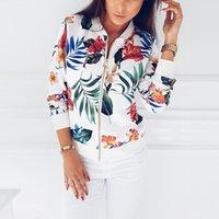 Uzzdss Femmes Veste Mode Fashion Dames Rétro Floral Zipper Up Bombard Jacket Casual Coat Casual Printemps Imprimer Outwear Femmes Vêtements 201007