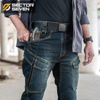 Сектор Семь 2020 Новой тонкого City Casual Men Mid талия прямой денима Классический индиго черный джинсы Износостойкая
