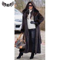 Kadın Kürk Faux BFFUR 2021 Varış Gerçek Ceket Kış Sıcak Giyim 120 cm Uzunluğunda Hood Coats Kadın Orijinal Ceketler