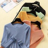 Suéteres para mujer Safenh 2021 Otoño Invierno Mujeres con cuello en V Minimalistas Tops de moda de estilo coreano tejiendo casual Color sólido1