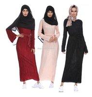 Gonna a matita rugosa musulmana Pliss Maxi Dress Dress Tromba Manica Abaya Abiti lunghi Tunica Medio Oriente Ramadan Arab Abbigliamento Islamico