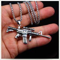 آلة بندقية قلادة الفولاذ المقاوم للصدأ قلادة سلاسل الهيب هوب الأزياء والمجوهرات للنساء الرجال هدية الإرادة والرملية