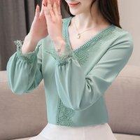 Mujeres Primavera Estilo de verano Lace Chifon Blusas Camisas Lady Casual Long Lantern Sleeve V-cuello Blusas Tops DF3018 Y200623