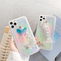 Cadeia bonito Pulseira Borboleta Laser cartão de telefone iPhone para o caso do 11 Pro Max SE 2020 Xs Max XR XS X 8 7 Plus tampa transparente