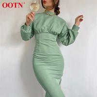 OOTN Turtleneck зимние женщины платье элегантное осень MIDI платье с длинным рукавом зеленый высокий талию сплошные повседневные дамы платья в 201204