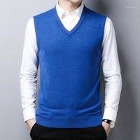 Nuevo suéter grueso masculino chaleco otoño oficina hombre sólido tejido lana suéter v-cuello casual sin mangas pullOvers1