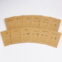 Stud Constelaciones Pendientes para mujeres 12 Signo del zodiaco Joyería de cumpleaños Astrología Leo Libra Aries Gold Girls Gift.