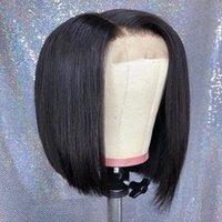 Ishow 2x6 bob pizzo parrucca parrucca brasiliana parrucca di capelli umani vergini brasiliani per le donne ragazze tutte le età naturale colore nero colore svizzero parrucca frontale in pizzo 14 pollici indiano peruviano