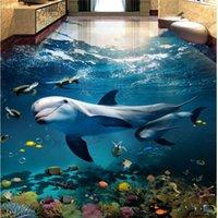 beibehang benutzerdefinierte foto tapete bodenmalerei strand terrain meer bodenhai 3d stereo badezimmer wohnzimmer boden malerei