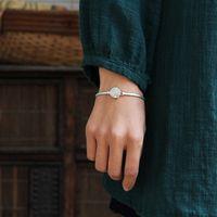 Prata 925 Pulseira de Cristal Inature Folha Esterlina Bangles Naturais para Mulheres Moda Jóias Presente Sh190721