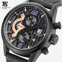 남성용 스포츠 시계, 쿼츠 타이머, 럭셔리, 방수, 블랙, T5