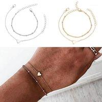 Браслеты очарования Rinhoo Minimalistic Gold Silver Color маленький сердечный звено цепочка для женщин дружба любит браслеты ювелирные изделия1