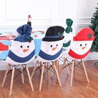 Decorações de Natal Boneco de neve Cadeira de família capa Decoração de casa conjunto de bainha protetora para 2021 year1