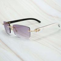Ienbel Luxo Branco Mistura Preto Búfalo Chifre Homens Womens Sunglasses Marca Designer Eyewear para Pesca Rave Festival