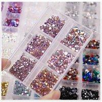 Mischungsgröße Kristall AB Glas Strasssteine für Nägel Nicht heiß Fix 3D Flatback Diamant Strass Edelsteine Glitter Schmuck Nagelkunst Dekorationen