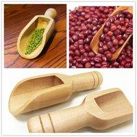 Mini Wooden Scoops Bath Salt Powder Detergent Powder Spoon Candy Laundry Tea Coffee Spoons Eco Friendly Wood Mini Scoops A596