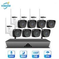 Sistema de vigilancia de Wheezan WiFi CCTV Cámara IP Kit 1080P 8CH H.265 Audio P2P Visión nocturna HD Cámara de seguridad de seguridad al aire libre Set1