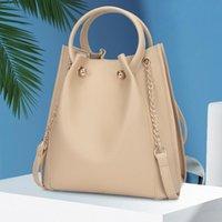 New PU Couro Saco De Ombro Mulheres Grande Capacidade Bucket Bag Corrente Crossbody Design Design Bolsa Advanced Lady Bolsa Bolsa