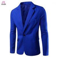 Мужские костюмы Blazers Vdogrir мужская мода Blazer военно-морской синий костюм Куртки одна кнопка с длинными рукавами воротника европейских американских буси