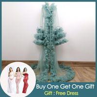 Mutterschaftskleider Donjudy Tüll Kleid für PO Shooting Baby Dusche Schwangerschaft Prom Party Kleid Rüschen Sleeve Benutzerdefinierte Farbe