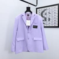 2021AWss pecho cinta del bordado de la chaqueta de las mujeres da vuelta-abajo traje chaqueta púrpura Dos mujeres Traje Botón