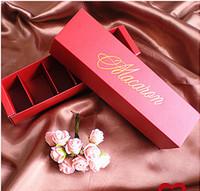 معكرون التعبئة مربع جميلة معبأة حفل زفاف ستة حزمة كعكة تخزين البسكويت ورقة مربع كعكة الديكور الخبز الملحقات VT1887