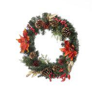يتم شحنها من الولايات المتحدة Wharehouse Artisasset إكليل عيد الميلاد مزين بالزهور الحمراء ومهرجان الصنوبر