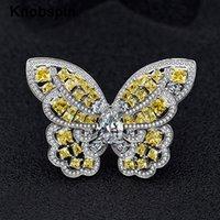 Knobspin Romantique 100% 925 fiançailles en argent sterling Bagues de femmes à haut carbone diamant papillon Topaz Parti Fine Jewelry