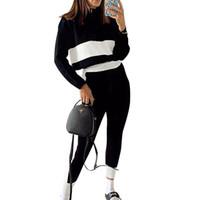 Женская Две пьесы Набор Zipper пальто высокой талии брюки с длинным рукавом Стенд воротник заплатки Top Спорт полосатые брюки