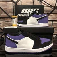 أحذية وصول جديدة أعلى أزواج أحذية رجالية المرأة Jumpman 1 منخفضة كرة السلة UNC المحكمة 3 الأعلى الأرجواني ثلاثية شيكاغو حجر السج سبور مع صندوق