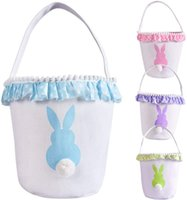 13styles Easter Basket Canvas Rabbit Buckets Lace Easter Bun...