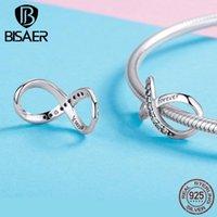 Outros encantos da família Bisaer 925 Sterling Silver 8 Forma Infinity Love Beads Conector para mulheres DIY Jóias presentes GXC11461