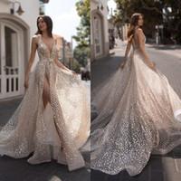 Julie Vino 2021 Sexy Dividir vestidos de noiva V profundo Neck lantejoulas Beads Vestido de Noiva Beach Dress Boho casamento Vestidos De Novia