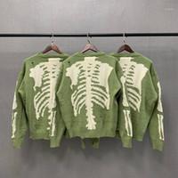 Kapital vert lâche squelette squelette d'impression pull humain homme femme bonne qualité high street hommage trou vintage tricot pull vêtements1