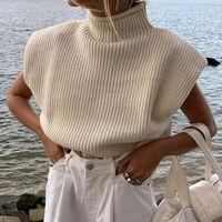 020 otoño moda lady hombro almohadilla amarillo punto de golpe suéteres mujeres casual sin mangas tortuga ropa de punto Tops1