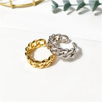 Unisex Trendy Men Women Rings Gold Silver Colors Smooth Cuban Chain Rings For Men Women Fashion Jewelry With Box Free Shipping Wholesale