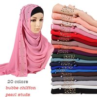 perlas de la burbuja de la gasa de hijab diamante pañuelo brillo chales bufandas hijabs musulmanes pañuelo perlas envolturas diadema bufandas 10pcs / lot