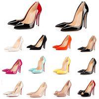 Talons rouges à la mode avec boîte chaussures habillées pour femmes Sac à poussière Bout pointu rond Escarpins Pointes Talons hauts Luxurys Designers
