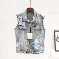 Kadın Yelek 2021 Yaz Moda Boncuk Nakış Çiçekler Yelek Kadın Denim Yelek Delik Kolsuz Ceket Kadın Kore Kısa Kot Ve