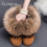 mulheres bootsWomen Botas Genuine sapatos de couro real Fox Fur Marca Inverno Quente Preto Rodada Toe Casual Plus Size Female neve Botas DE