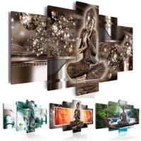 Hd vendita calda moda muro arte della tela pittura di tela 5 pezzi diamante buddha zen meditazione paesaggio cascata moderna decorazione della casa T200118