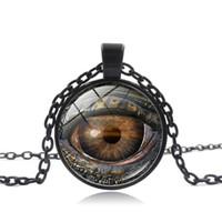 Dragon Göz Time Taş Kolye Kolye Gümüş Bronz Cam Cabochon Kolye Kadın Erkek Moda Takı için