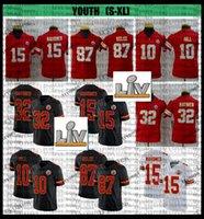 2021 SuperBowlv Juventude Kids 15 Patrick Mahomes 10 Tyreek Hill 87 Travis Kelce 32 Tyrann Mathieu Futebol Jerseys Embroidery Black