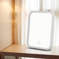 Portable Makeup Mirror LED Natural Light Angle Adjustable Touch Control Brightness Dimmable Lights Mirror Foldable Makeup Mirror DWD2219