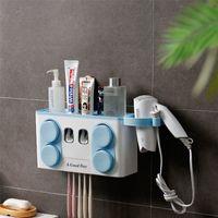 Toothbrush Holder Dot Toothpaste Dispenser com 4 xícaras de secador de cabelo Suporte de parede Montagem de parede Armazenamento Cremalheira de armazenamento Barroon suprimentos LJ200904