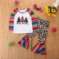 Miúdos do outono Outfits Crianças Roupa Natal Define 2.020 novos Ins ocasional das meninas Listrado Top + leopardo-de-sino Calças Ternos S746