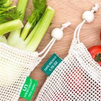 حقائب يمكن إعادة استخدامها حقيبة تسوق القطن العضوي شبكة بقالة التسوق النباتية الفاكهة لعبة أطفال التخزين حمل حزمة 4 1fm L2